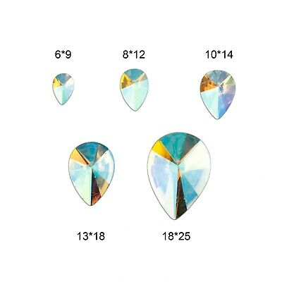 Pointed AB Clear Tear Drop Flat Back Face Body Gems Festival Jewel Make up Craft