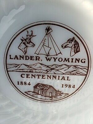 Lander Wyoming Centennial Plate by Anchor Hocking in the Fire King Swirl Pattern