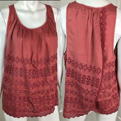 Lucky Brand Women/'s Lace-Applique Top Red X--Small