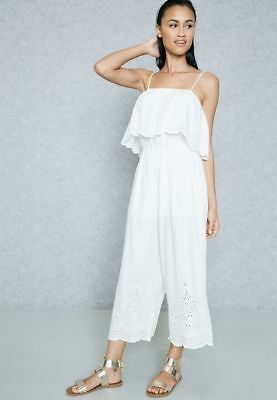 ec275c7012c5 Topshop Embroidered Broderie Anglaise White Frill Culotte Jumpsuit UK 8 10  12