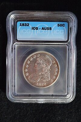 1832 Capped Bust Half Dollar 50c Graded AU55 by ICG May be Whizzed?