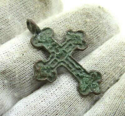 Authentic Late Medieval Era Bronze Cross Pendant - Wearable - J793