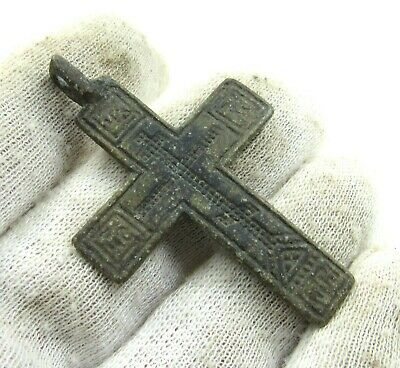 Authentic Late Medieval Era Bronze Cross Pendant - Wearable - J795
