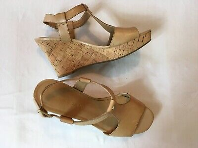 7d8cb16163a Franco Sarto Wedge Sandal Womens 7M Tan Leather Cork Heel T-Strap Buckle  Ankle