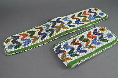 Fine Antique 19Th C Native American Indian Beadwork Beaded Strips Nr!