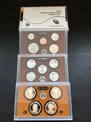 2012-14 S U.S. Mint (3) Clad 14 Coin Proof Sets with Boxes and COA's