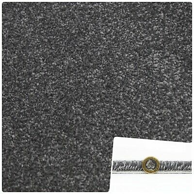 THICK 10mm Stain Resistant Dark GreyTwist Pile 4m Wide Carpet Remnant
