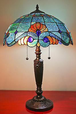 "Tiffany Style Stained Glass Blue Vintage Table Lamp 2 Light 16"" Shade New"