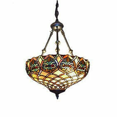 "Tiffany Style Brown Mission Hanging Lamp Stained Glass 18"" Shade Handcrafted New"