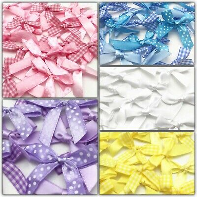 60 Mix Satin Ribbon Bows Craft Cardmaking Embellishment Random Pre Tied Wedding