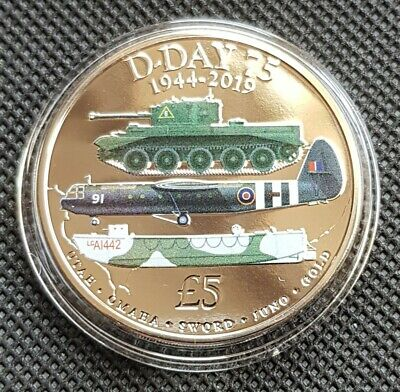 2019 D-DAY 75th ANNIVERSARY WW2, 1944 - 2019 - Five Pound £5 Coloured Coin