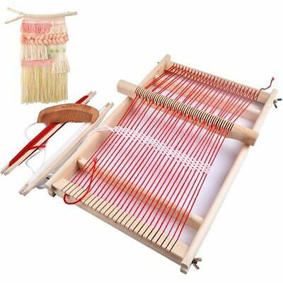 Tapestry Tabletop Weaving Loom Lap Craft Frame Beginner Knit Wood Needle Comb