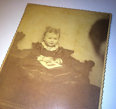 Antique Adorable Child Lovely Smile Holding Photograph of Mother Cabinet Photo