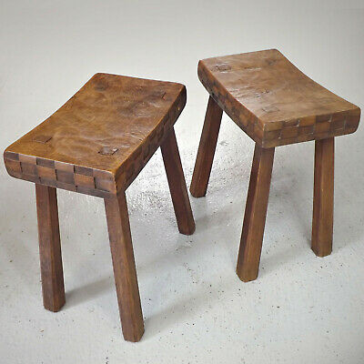 Pair of Stools - Arts & Crafts - Yorkshire Oak - Critters - Bee