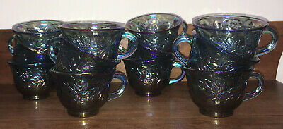 Indiana Blue Carnival Glass 12 Harvest Grape Iridescent Punch Cups S Hooks