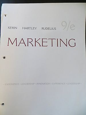Marketing  William Rudelius, Steven W. Hartley & Roger Kerin 9th Edition Very Go