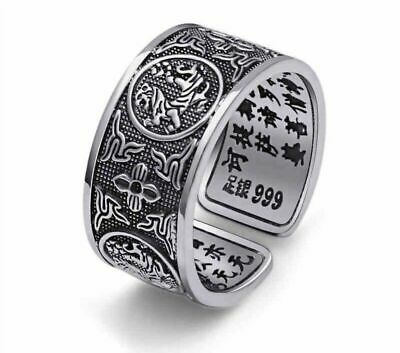 Genuine 925 Sterling Silver Chinese Style Resizable Ring Dragon Snake Tiger Bird