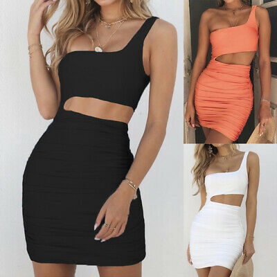 Bodycon Evening Party Mini Dress One Shoulder Women Sexy Sleeveless Cut Out