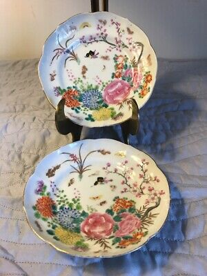 "Pair Of Antique Chinese Export Hand Painted Plates 5.5"" Flowers & Butterflies"