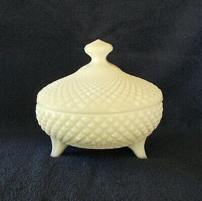 Fenton Milk Glass Covered Dish Diamond Pattern Vintage