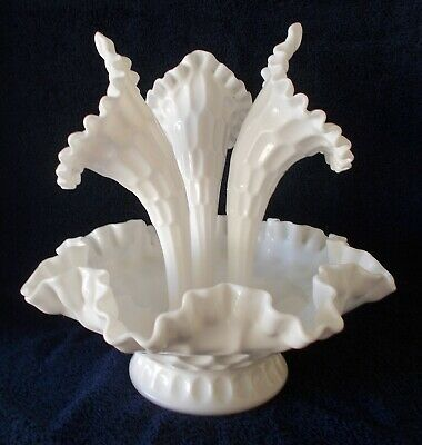 FENTON MILK GLASS THUMBPRINT EPERGNE 4 pc VINTAGE