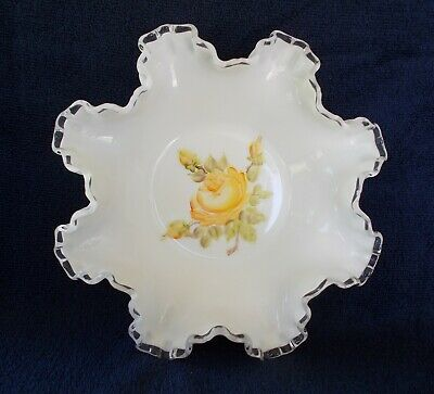 Fenton Silver Crest Milk Glass Bowl Handpainted Yellow Rose Vintage