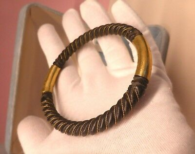 Antique Victorian unusual carved black horn bracelet bangle gold  wire Mourning