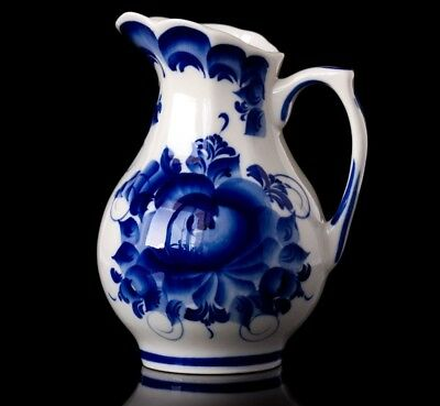 Gzhel Porcelain blue milk pitcher * Hand-painted in Russia author's work