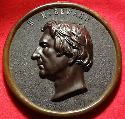 HUGE 1860's WILLIAM H. SEWARD PLAQUE BOIS DURCI 170 MM