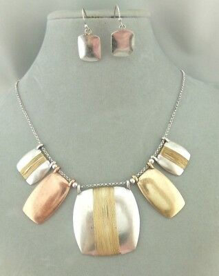 Wire Wrapped Geo Necklace Set Gold Silver Copper Fashion Jewelry NEW