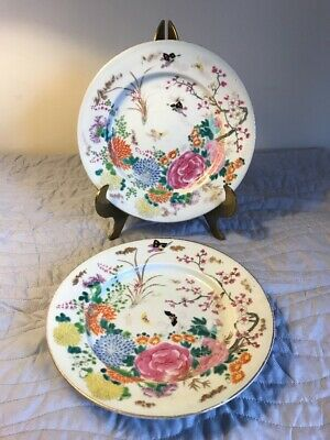 "Pair Of Antique Chinese Export Hand Painted Plates 8.5"" Flowers & Butterflies"