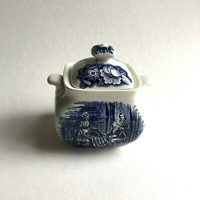 Liberty Blue Staffordshire Ironstone Sugar Bowl with Lid England Betsy Ross