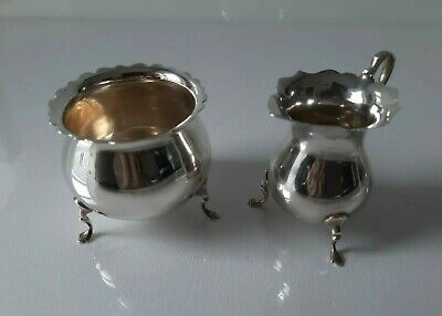 Antique solid Silver Sugar Bowl & Cream Jug Mappin & Webb Ltd London 1907-8 130g