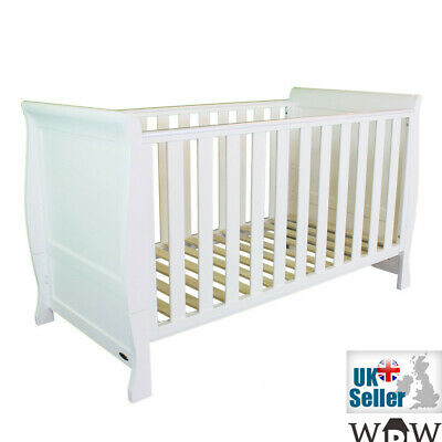 White Solid Wood Sleigh Baby Cot Bed Full Size 152x76cm Convert to Junior Bed