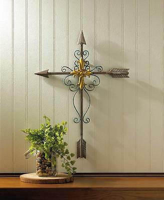Crossed Arrow Golden Wall Cross Hanging Religious Art Faith Hang Home Decor NEW
