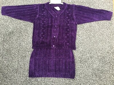 NEW: Joblot x10 ADAMS Purple Chenille Cardigan & A-Line Skirt Sets *£3.80 each*