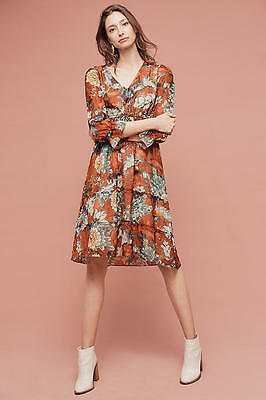 fe0d18086dc5 NWT $178 Anthropologie *HEMANT & NANDITA* ZERI PEASANT MIDI DRESS Sz 2 ...