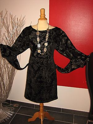 ROBE VELOURS BRODé NOIR EMBROIDERED VELVET DRESS SAVE THE QUEENT XL 42 UK 14