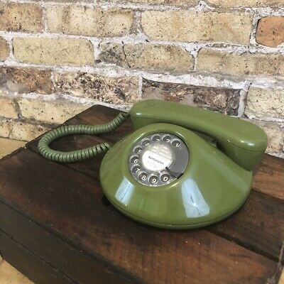 Retro Vintage 'Pancake' NT Telephone in Green Working & Lovely Condition, 1970's