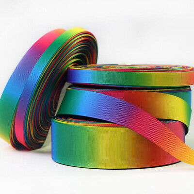 Double Sided Grosgrain Ribbon Rainbow Pastel 10 15 25mm 10 Meters Full Roll Reel