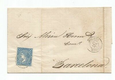 SPAIN EDIFIL 75 ---1865--- ON LETTER,8thMAY, 1867---USED--