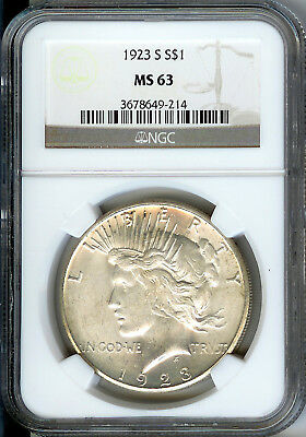 1923 S Peace Silver Dollar NGC MS63, Bright White Original Color!