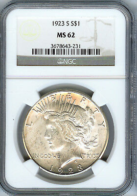1923 S Peace Silver Dollar NGC MS62, Bright White Original Color!