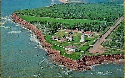 1971 Aerial View East Point Lighthouse Prince Edward Island Canada Postcard D36