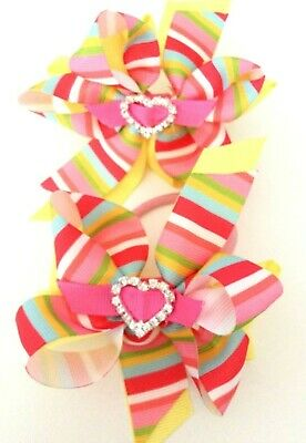 Handmade Girl Dumbo Double Hair Bow Bobbles with Gems  In Pairs