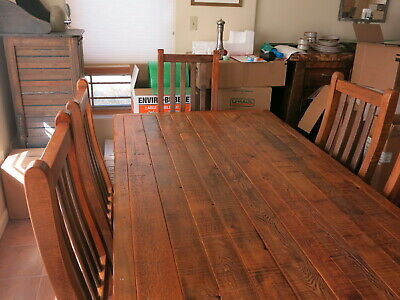 Reclaimed Wood Farmhouse Dining Set 84 Trestle Table W Six Chairs
