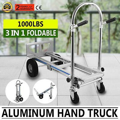 3 in 1 Aluminum Folding Sack Truck Hand Trolley Cart Car Industrial Home 1000Lb