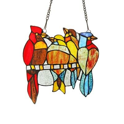 """Stained Glass Red Bird Window Panel Handcrafted Tiffany Style 9"""" x 9"""""""