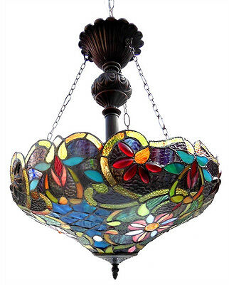 """Pendant Light Stained Cut Glass Tiffany Style Reverse Hanging 18"""" Shade Ceiling"""