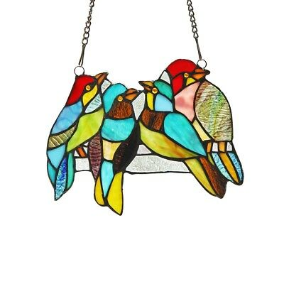 """Stained Glass Birds Window Panel Handcrafted Tiffany Style 8"""" x 10"""""""